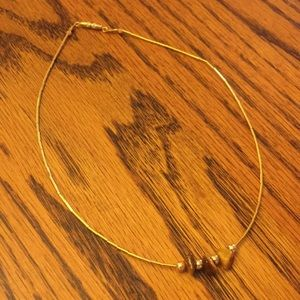 Vintage Gold Rock Stone Choker Necklace Jewelry